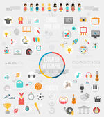 Education Infographic set with charts and other elements.  — Vector de stock