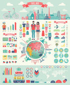 Travel Infographic set with charts and other elements. — Cтоковый вектор