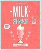 винтаж milkshake плакат. — Cтоковый вектор