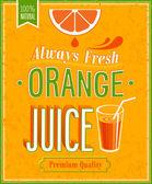 Vintage Orange Juice Poster. — Stock Vector