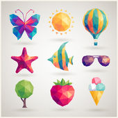Summer set - geometric icons. — Stock Vector