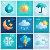 Weather set - geometric icons. — Stock Vector