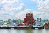 New tugboats at a Dutch shipyard. Netherlands — Stock Photo