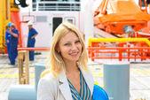 Woman engineer shipbuilder at the shipyard. — Stock Photo