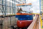 Ship in shipyard — Stock Photo