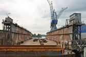 Empty dry dock at the shipyard, the Netherlands — 图库照片