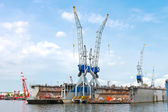 Industrial landscape. Dry docks and cranes in shipyard — Foto Stock