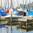 Boats at the marina Huizen. Netherlands - Foto de Stock