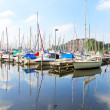 Boats at the marina Huizen. Netherlands - Foto Stock