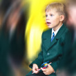 Day of knowledge. Surprised first grade boy. — Stock Photo