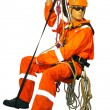 Mannequin in overalls steeplejack on a white background — Stockfoto