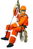 Mannequin in overalls steeplejack on a white background — Stock Photo