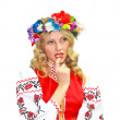 Beautiful girl in the Ukrainian national costume on a white back — Stock Photo #17852223
