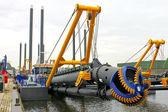 Nowy statek koparki w holenderskiej stoczni — Zdjęcie stockowe