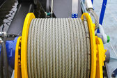Shipboard equipment. Rope on the drum — Stock Photo