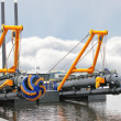 Stock Photo: New dredge ship in Dutch shipyard