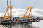 New dredge ship in the Dutch shipyard — Stock Photo