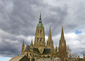 Bayeux Cathedral against a cloudy sky — Stock Photo