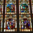 Stained glass in the cathedral in Bayeux  Normandy  France - Stock Photo