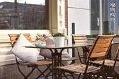 Morning street cafe in Gorinchem. Netherlands — Stock Photo