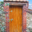 Wooden door in an old stone fence — Stock Photo #22204957