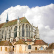 Chartres Cathedral at the background is overcast. France - Stock Photo