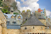 房子在修道院的 mont 圣米歇尔。法国诺曼底 — 图库照片