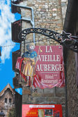 Signboards in yard abbey of Mont Saint Michel. Normandy, France — Stock Photo