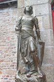 Statue of Joan of Arc in the abbey of Mont Saint Michel. Norman — Stock Photo