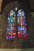 Stained glass In the abbey church of Mont Saint Michel. Normand — Stock Photo