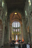 Mass at Cathedral of the abbey of Mont Saint Michel. Normandy, F — Stock Photo