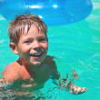 Smiling boy swims in pool on summer vacations — Stock Photo #28420745