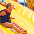 Stock Photo: Enthusiastic children on slide in waterpark