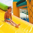 Enthusiastic kid on slide in the waterpark — Stok fotoğraf