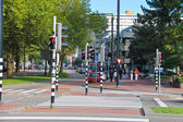 Employed traffic lights at the crossroads in Dordrecht, Nethe — Stock Photo