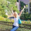 Vacation in Las Vegas. Happy girl in the park — Stock Photo