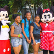Постер, плакат: Actors in costumes Mickey Mouse and Mrs Mickey Mouse posing wi