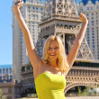 Vacation in Las Vegas. Joyful girl on a background of Paris Hote — Stock Photo #39357823