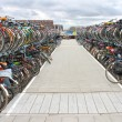 Plenty bicycles at parking lot in Delft, Netherlands — Stockfoto #39996093