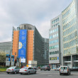 Stock Photo: Movement of vehicles near buildings European Parliament in Brus