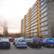 Cars parked in the morning city — Stock Photo