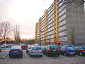 Cars parked in the morning city — Stockfoto