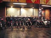 Bike parking at night Gorinchem. Netherlands — Stock Photo