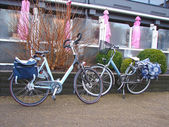 Two bicycles near the outdoor cafes. Netherlands — Stock Photo