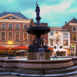 Fountain in night city Gorinchem. Netherlands — Stock Photo