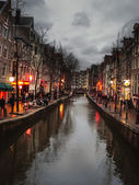 The famous street red light district in Amsterdam. Netherlands — Stockfoto