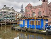 Empty pier pleasure boats  in Amsterdam . Netherlands — Stock Photo
