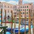 Berth pillars of Gondola Service on the Grand Canal in Venice, — Foto de Stock   #49510385