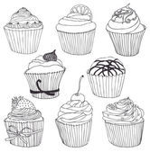 Cupcake color set — Stockvektor