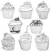 Cupcake setje kleur — Stockvector